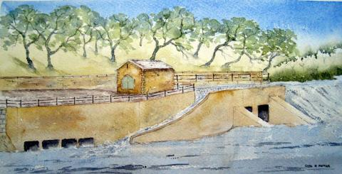 An artists impression of the proposed hydro at Forge Weir.
