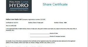 Share Certificates issued to first investors